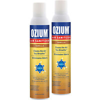 Ozium Air Sanitizer 8 oz. Spray, Cleans Air Eliminates Odors, Vanilla Scent 2-PK