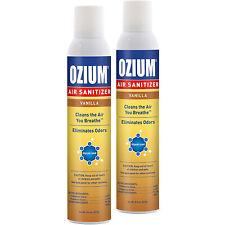 Ozium Air Sanitizer 8 oz. Spray, Cleans Air Eliminates Odors, Vanilla Scent 2-PK