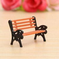 Mini Park Seat Bench Miniature Craft Fairy Dollhouse Decor Garden Ornament DIY