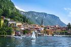 FRAMED CANVAS ART PRINT lake Como Veranna  Lombardy Italy boats harbor mountain