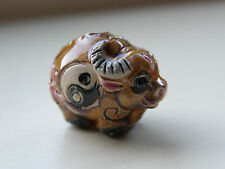 Porcelain Ox Bead, Brown/Multi with Yin Yang Symbol 22 mm x 15 mm