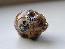PORCELLANA OX Perline, marrone/multi con simbolo Yin Yang 22 mm x 15 mm