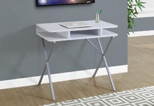 """Monarch I-7100 Computer Desk White & Silver 31"""" **NEW**"""