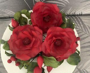 Sugar Red Open Rose Flower Cake topper/decoration