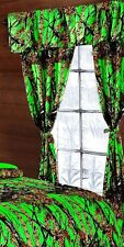 5 PC CURTAIN VALANCE SET BIOHAZARD GREEN CAMO!! CAMOUFLAGE THE WOODS