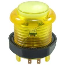AWUK Ultimate Illuminated Button 28mm - Yellow with Built In Switch & 5V LED