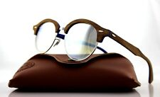 0563842e3bf NEW Genuine RAY-BAN CLUBROUND WOOD Blue Silver Flash Sunglasses RB 4246M  1217 9U