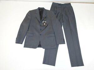Vitali Boy's Pinstripe 3 Button Suit Size 20 Regular NWT Charcoal Gray Wool