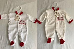 Newborn Boys Girls My First Christmas Sleepsuit Baby Grow Cotton