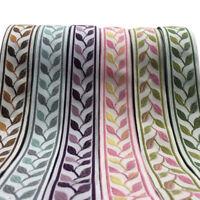 1/5Meters leaf Jacquard Ribbon Silk Pastoral Braid Trim DIY Upholstery Fringe