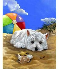 WESTIE BEACH BABY GARDEN FLAG  FREE SHIP USA RESCUE