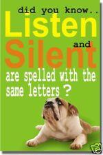 Silent & Listen - Classroom Motivational Dog NEW POSTER
