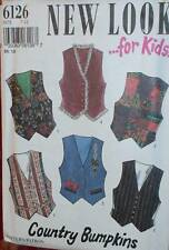 "6126 Vintage NEW LOOK SEWING Pattern Kids ""Country"" Vest 7 - 12 UNCUT SEW NEW FF"