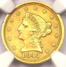 1845-D Liberty Gold Quarter Eagle $2.50 - Ngc Au Details - Rare Dahlonega Coin!