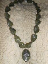 Irish Celtic Waved Connemara Marble & Silver Trinity Cross Necklace