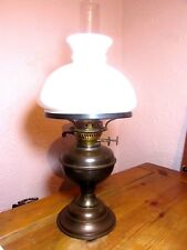 Antique Brass Duplex Oil Lamp + White Opal Glass Shade