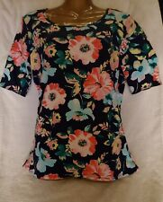 Time & Tru Tee Shirt NAVY  Multi Color Floral Scoop Neck Soft & Comfortable NWT