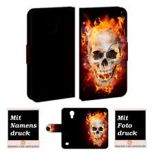 Samsung Galaxy S4 mini Handy Hülle Tasche mit Totenschädel - Feuer Bild Druck