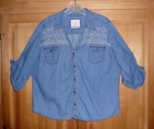 SONOMA Womans Petite XL Blue Jean Button Blouse with Embroidery