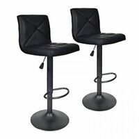 2 PACK PU Leather Modern Adjustable Swivel Hydraulic Chair Bar Stools Black
