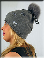 New Beaded Gray Knit Beanie with Bow Ties and Gray Fox Fur Pom Pom Efurs4less