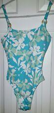 Jantzen Blue, Green & White Floral High Waisted One Piece Swimsuit SZ 6
