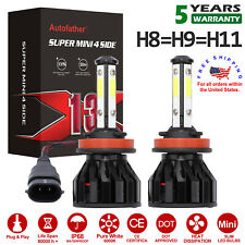 4-Side H11 Led Headlight Bulbs H8 H9 Kits 2800W 280000Lm Power 6000K White Mini