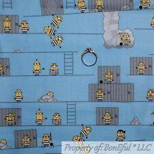 BonEful FABRIC Cotton Quilt Blue White Yellow B&W Despicable Me 3 MINION L SCRAP