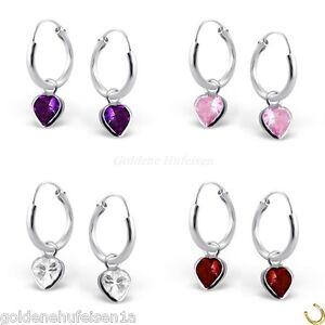 En el búho corazón chica aretes de plata 925 coloreada rosa Violeta lechuzas pendientes