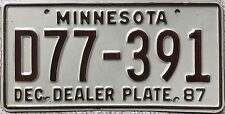 GENUINE December 1987 Minnesota Dealer USA License Licence Number Plate D77-391