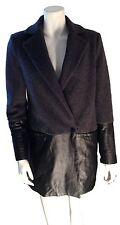 Scoop NYC Wool Grey Black Leather Trim Womens Jacket Coat - SZ Small