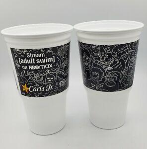 2 Carl's Jr. Adult Swim Cups - Black &  White *Free Shipping