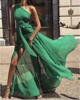 vestito abito slim donna lungo estivo verde leggero morbido elegante moda 4639