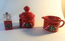 Waechtersbach christmas red pepper mill & salt shaker, Sugar Bowel, & Creamer
