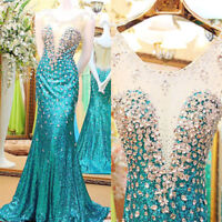 Elegant Crystal Evening Pageant Dresses Mermaid Sequins Prom Party Formal Gowns