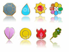 Complete x 8 Gold-Metal Kanto Gym Leader Badges Lapel Pin Pokemon GEN 1 COSPLAY