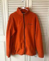 Colombia Men's Fleece Zip Up Neck Pullover Jacket Size Large Orange