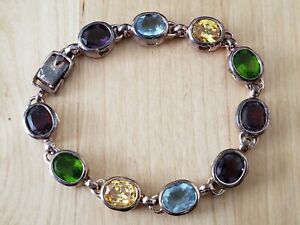 "VINTAGE COLLECTIBLE *STERLING SILVER 925*  BRACELET 7.5"", MULTI-STONES"