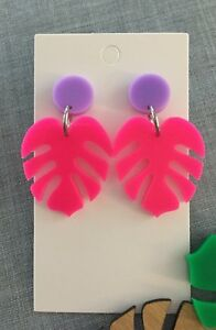 Monstera Leaf Dangle Earrings, Acrylic Hot Pink & Purple Surgical Stud Statement