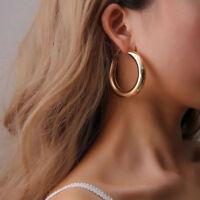 Elegant Wholesale Minimalist 50mm Thick Tube Big Gold Round Circle Hoop Earrings