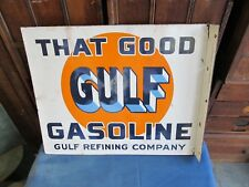 Gulf Gasoline Porcelain  Flange Sign - 1930's mfg. by: Baltimore Enamel in N.Y.