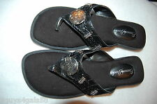 Womens Shoes THONG SANDALS Black Mock Leather SILVER MEDALLION Braided Strap 7 M
