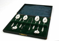 Antique Sterling Silver Apostle Spoons & Tongs Cased 1911 Birmingham 51 g