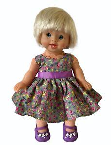 "Mattel 2007 Little Mommy Soft Body Baby Doll 14"" Blonde Hair Blue Eyes w Dress"