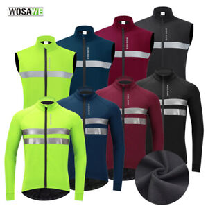 Winter Men's Cycling Vest Long Sleeve Jacket Sleeveless Gilet Thermal Fleece Top
