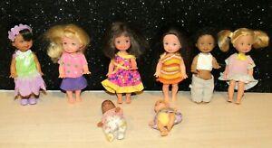 Lot of 8 Vintage 1990s  Mattel  Barbie Kelly Dolls w/Two Babies w/AA Nice set