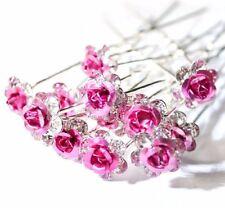 Lot de 5 épingles chignons fleur rose et strass , bijou de cheveux mariage