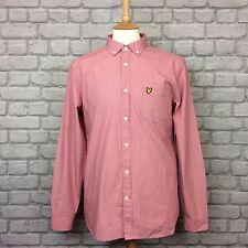 NUOVO senza etichetta Lyle & Scott Da Uomo UK M Camicia Oxford rosa scuro Camicia a maniche lunghe