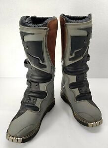 Thor Quadrant MX Motocross Off Road Boots Mens Size 9 Leather Gray Black Brown