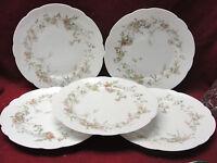 """Set of FIVE (5) HAVILAND LIMOGES CHINA FLORAL 8.5"""" SALAD/DESSERT PLATES"""